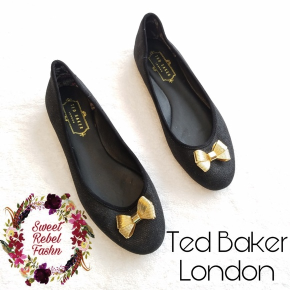 4ff608b7fc Ted Baker London Shoes | Ted Baker Imme J Flats With Gold Bow Size 7 ...